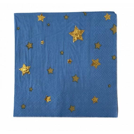 Blå med Gullstjerner 8 stk