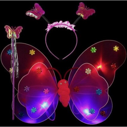 Rosa sommerfuglvinger med LED lys