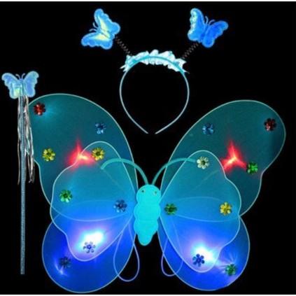 Blå sommerfuglvinger med LED lys